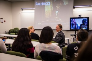 Camosun students and staff connect with Brazilian students and staff during a movie screening (photo Camosun AV Services).