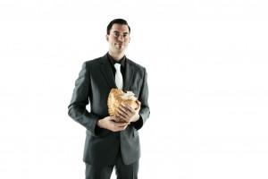 Victoria musician Nick La Riviere and one of his beloved conch shells (photo provided).