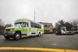 The Camosun Express shuttle bus takes students between the two Camosun campuses (photo by Camosun College A/V Services).