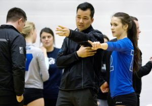 Chris Dahl coaching the Camosun Chargers women's volleyball team (photo by Camosun College A/V Services).