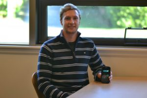 Camosun student Connor Foreman shows off his Locus app (photo by Jill Westby/Nexus).
